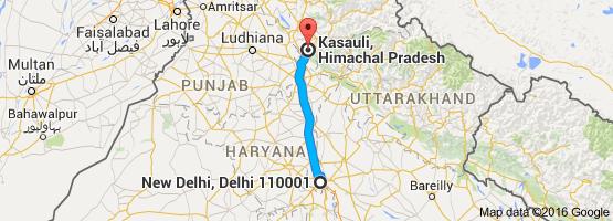 Google Maps - Delhi To Kasauli