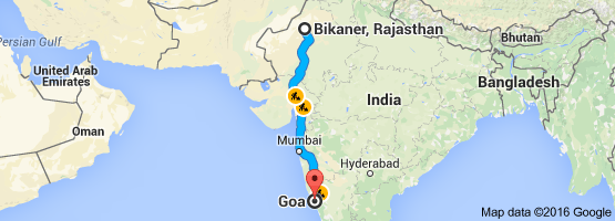 Bikaner To Goa