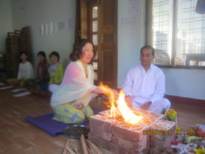 Every retreat at Anand Ganga begins with puja of holy Ganges.