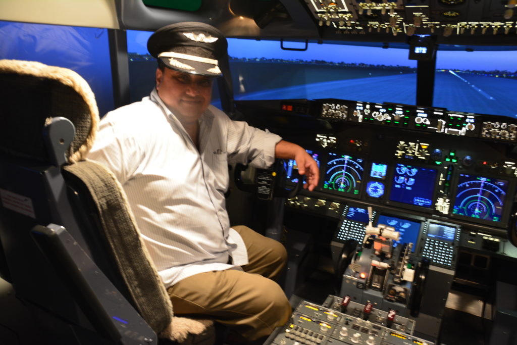 A flying lesson on the flight simulator in Bangkok, Thailand